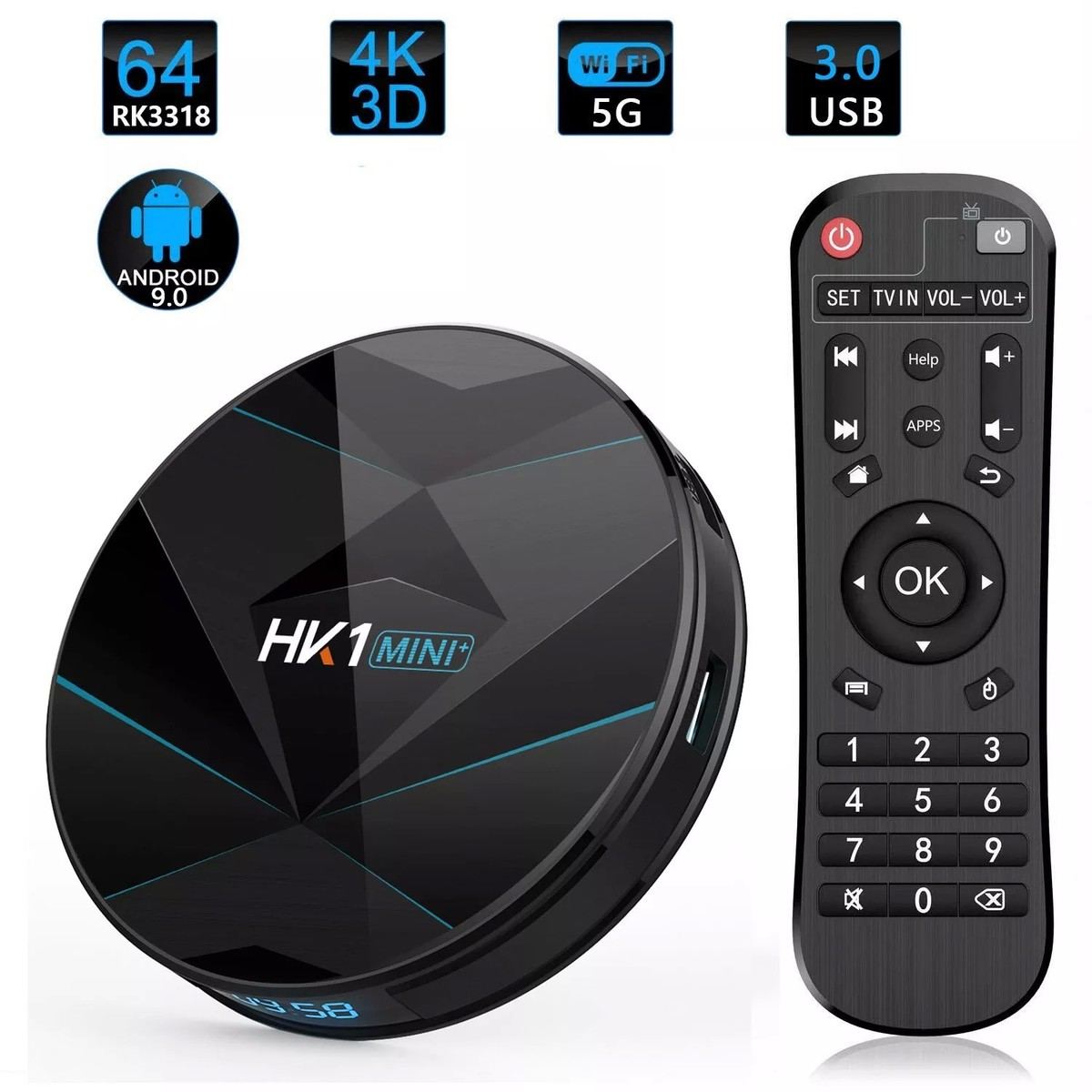 TV Box HK1 MINI+ plus RK3318 4/64GB Android 9.0 Pie