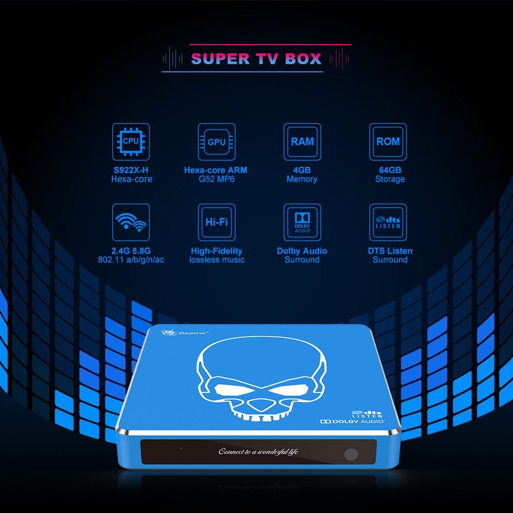 TV box Beelink GT-King Pro S922X-H 4/64GB eMMC Android 9.0 Dolby/DTS licencovaný