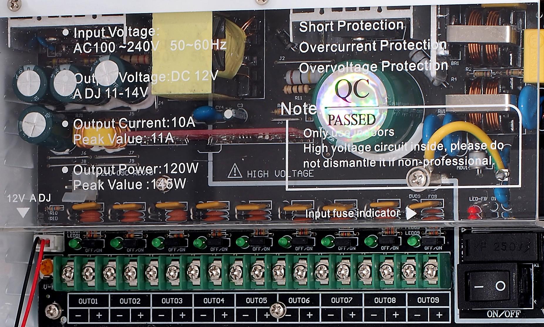 impulsní napájecí zdroj, 12V DC, 9 portů, 10A, nástěnný v instalační skříňce